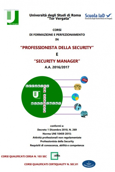 Professionista della Security e Security Manager a.a. 2016-2017