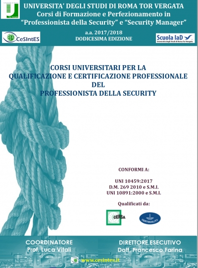 Corsi per Security Manager - Università di Roma Tor Vergata a.a.2017-2018